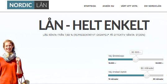 Nordiclån hemsida